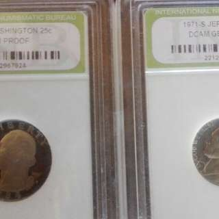 Washington and Jefferson gem proofs coin