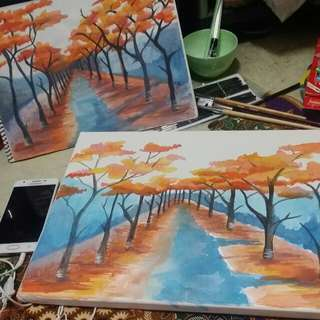 Watercolor painting on paper and canvass