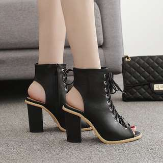 Size 35-40 Lace Up Peep Toes Gladiators Chunky High Heels