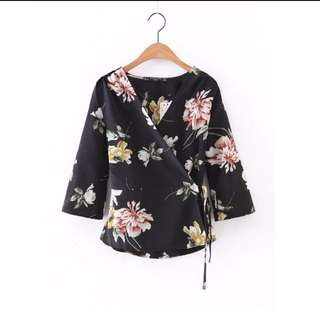 Instock Floral Overlap Blouse (Free Mailing)