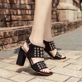 Size 35-40 Straps Peep Toes Chunky High Heels