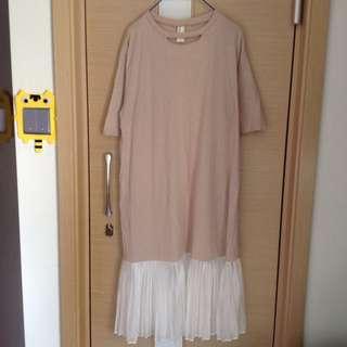 韓國百搭粉色長身連身裙