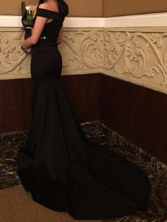 Black Off-shoulder long gown for rent