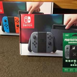 Switch 自售 全新 任天堂主機 灰黑 (含保護貼)