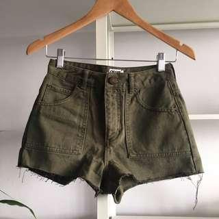 Khaki Green Denim Shorts
