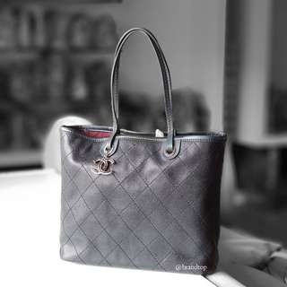 Authentic Chanel Black Caviar Shopping Fever Tote