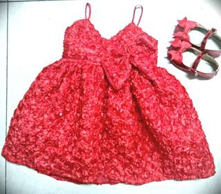 Baby Gown and Shoes Set