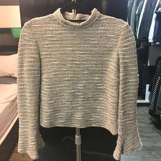 [Women] ZARA Woman Cropped Tweed-looking Top with Flare Sleeves