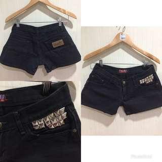 Studded Black Hot Short Pants