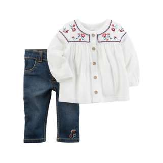 AUTHENTIC CARTER'S 2-Piece Embroidered Tunic & Denim Pant Set