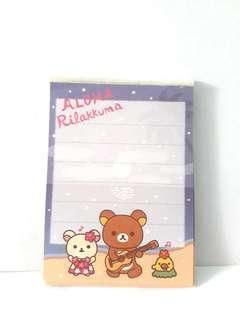 Rilakkuma bear memo paper sheet