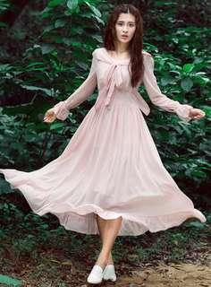 AO/DZC070637 - Vintage Fashion Tying Bowknot Collar Chiffon Maxi Dress