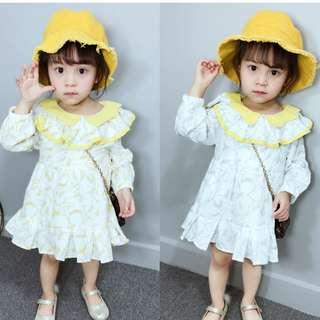 Kid Girls Long Sleeves Frill Details Flora Printed Dress