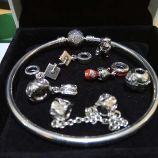 Authentic Pandora Charms and Bangle