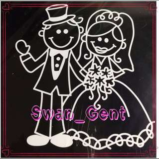 Decorative Car Decal - Newly Wed Couple Bride & Groom Automotive Wedding Car Sticker
