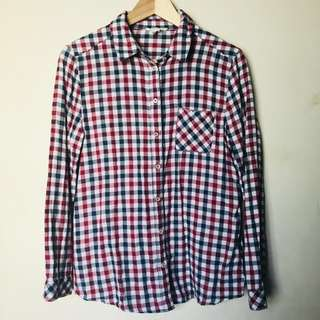 FOREVER 21 Checkered Plaid Red, White & Blue Top