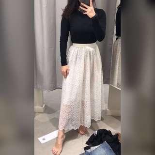 Jual Rugi Baru Rok Brokat H&M Panjang Putih / New Long Skirt H&M