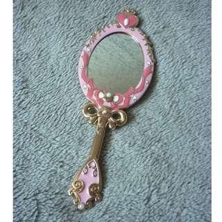 粉紅色 配珠珠 金屬 手柄 公主 鏡子 魔鏡 Mirror