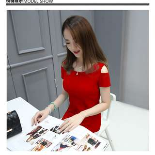 RED TOP BLOUSE ( ready stock 170240)
