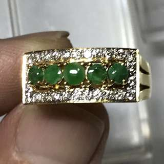 {Collectibles Item - Diamond Jade Ring} Gorgeous & Beautiful Peranakan Vintage Solid 20K Yellow Gold Genuine Diamonds With Type A Jade Ladies Ring