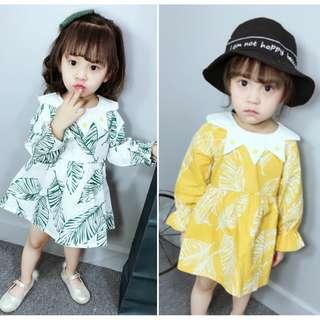 Kid Girls Long Sleeves Leaf Printed Dress