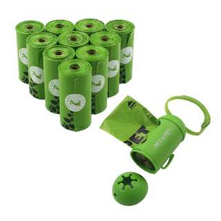 Dog Poop Bags Earth-Friendly 180 Counts 10 Rolls Large Unscented  Doggie Waste Bags Green Carrier bags With 1 Dispenser