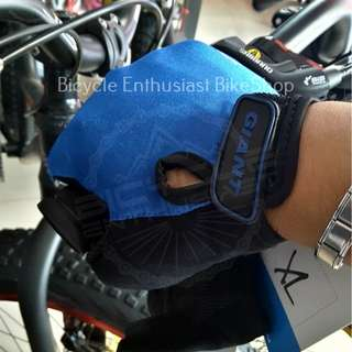Giant Microfiber Bicycle Half Finger Gloves (XL size ONLY) *CLASS A* Blue with Black ONLY