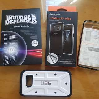 Package: Spigen neo hybrid crystal case + 1pc invisible defender SP + uag case (class a)