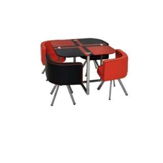 Black and Red 4 Seater Dining Set