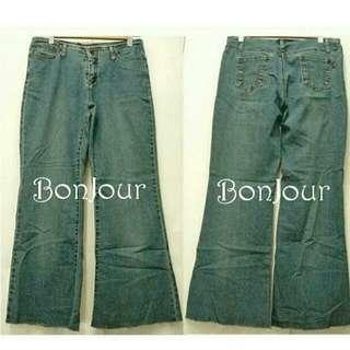 Worn Ladies Size 29 Bell Bottom Jeans Sellzabo Long Pants Denim Ladies Girls Women Female Lady