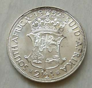 South Africa 1952 2-1/2 Shillings Proof Silver Coin