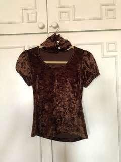 Pre-loved elegant velvet brown top (with neck choker)