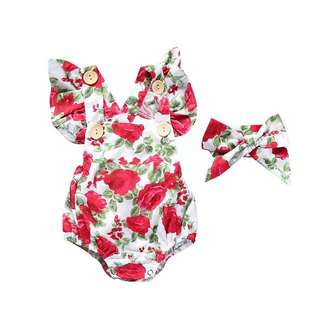 🌟INSTOCK🌟 2pc Floral Red Romper with Headband Hair Accessories Newborn Baby Toddler Girl Everyday Onesie Children Kids Clothing