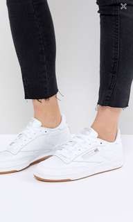 Reebok Classic Club C 85 Trainers In White Leather With Gum Sole - White / UK 5.5