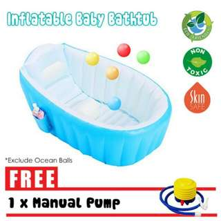 FREE POS Ready Stock Portable Quality Air Inflatable Baby Bathtub Swimming Pool Kids Shower Basin