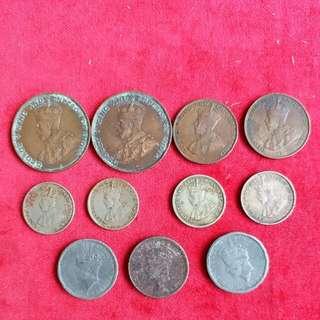 香港 早期 英皇 佐治五世 六世硬幣11個