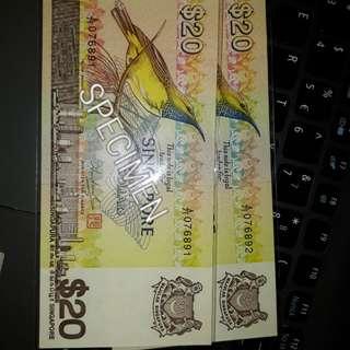 Singapore Bird Series $20 Banknotes