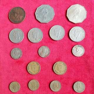 香港 早期硬幣 英皇 英女皇 16個