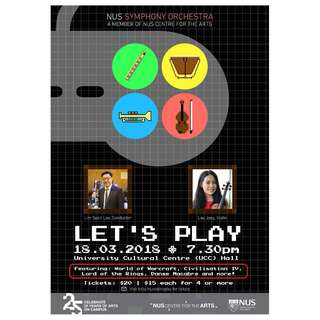 Cheap concert tickets 18 March!! NUSSO: Let's Play - A Video Games Concert (18 March, University Cultural Centre) by NUS Symphony Orchestra