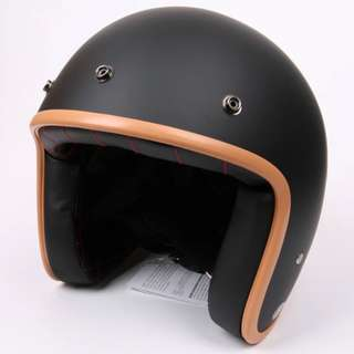 Matte Black Motorcycle Helmet Open Face Three Button Snap Retro Vintage Vespa Scooter Cafe Racer Motorbike Leather Gloss Old School Harley Davidson