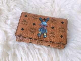 MCM medium three fold rabbit leather wallet
