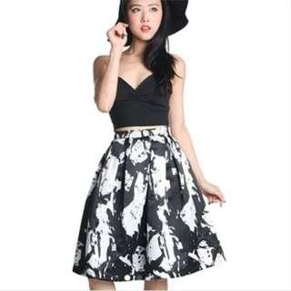 Monochrome Coloursplash Midi Skirt
