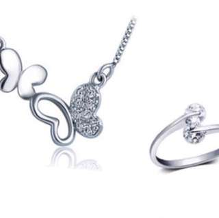 925 Sterling Silver Necklace and Ring Set