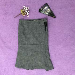 FREE ONGKIR - grey midi skirt [Rick's]