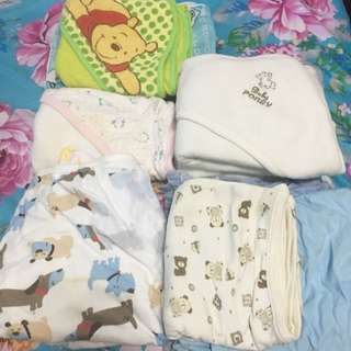 Almost new baby waterproof bedsheet and baby swaddles wraps