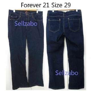 9.5/10 Size 29 Petite Boot Cut Jeans Long Pants Sellzabo F21 Forever21 Forever 21 Blue Denim
