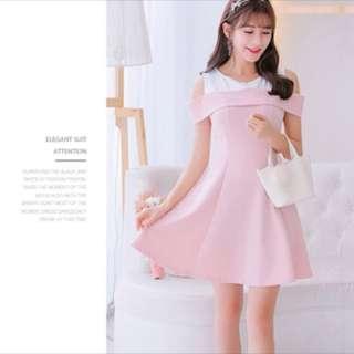 Dual Colour Off Shoulder Dress