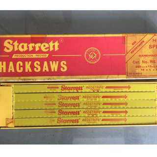 "Starrett Hacksaws HSS 250mm x 13mm x 0.65mm 10"" x 1/2"" x 0.025"" 18T/32T Made in Great Britain / UK"