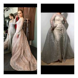 (Pre-order )2018 New Arrive Glitter Sequins Evening Dress Long Detachable Train Party Gown Long Sleeve Muslim Prom Dress Arabic