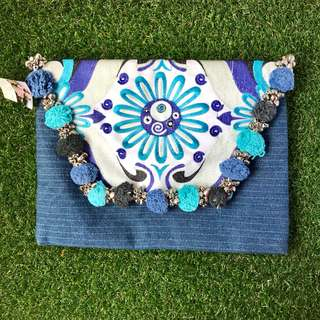 Bohemian Pom Pom Clutch Bag